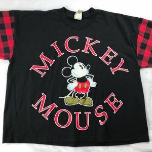 Mickey Mouse Disney Plaid T-Shirt Vintage One Size